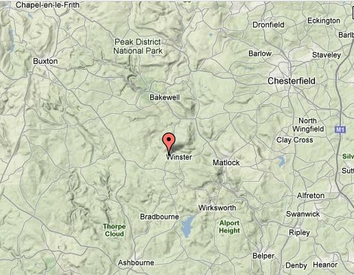 Map showing location of Elton in relation to the Peak District National Park