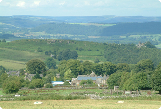 Elton holiday accommodation - Views over Elton and the Peak District beyond