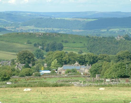 View looking north over Elton, Peak District in the background